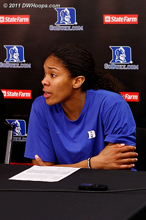 Krystal in the media room  - Duke Tags: #34 Krystal Thomas