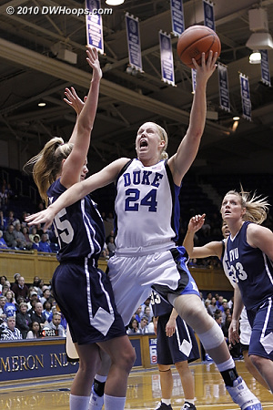Kathleen Scheer attacks the basket in her new more comfortable power forward role.  - Duke Tags: #24 Kathleen Scheer