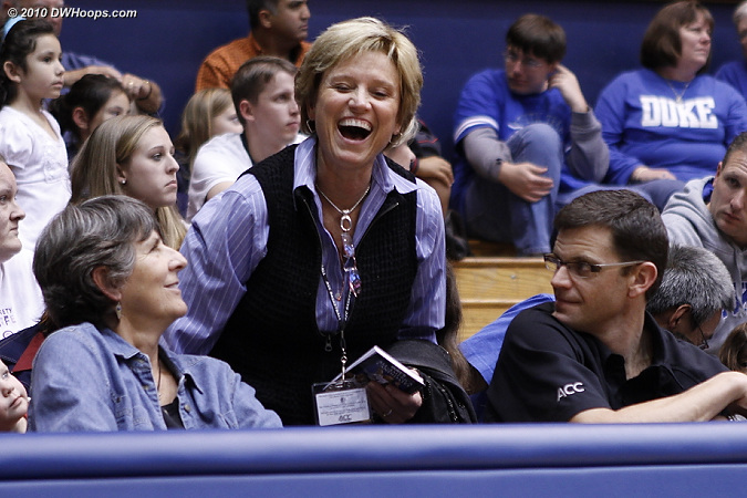 ACC Associate Commissioner Nora Lynn Finch (center) shares a moment with Duke Associate AD Jackie Silar and ACC Director of WBB Operations Brad Hecker.