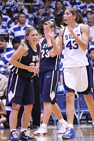 Allison Vernerey (right) is pleased by a call while BYU's Haley Hall has hurt her hand.  - Duke Tags: #43 Allison Vernerey