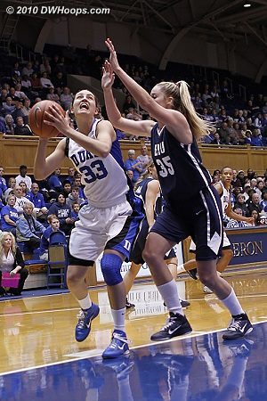 Haley Peters goes to the hoop, guarded by BYU's Kristen Riley  - Duke Tags: #33 Haley Peters