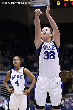 Tricia Liston was clearly nervous on the line in her first Duke outing.  She was an 87% free throw shooter in high school, but here she missed both tries.  - Duke Tags: #32 Tricia Liston