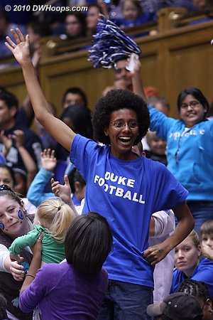 A Duke football fan in the house on a day when many fans enjoyed the rare football / women's hoops doubleheader.  - Duke Tags: Fans