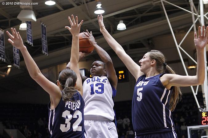 Karima shoots through the BYU double team.