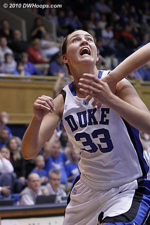 Haley looks to rebound a Duke free throw.