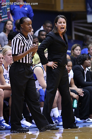 Coach P exhorts the Duke defense as referee Denise Brooks looks on  - Duke Tags: Joanne P. McCallie