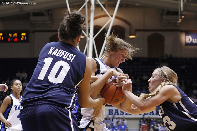 BYU's Haley Hall (right) and Alexis Kaufusi tie up Allison Vernerey.  - Duke Tags: #43 Allison Vernerey