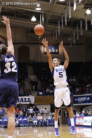 Jasmine Thomas fires a three point attempt.  - Duke Tags: #5 Jasmine Thomas