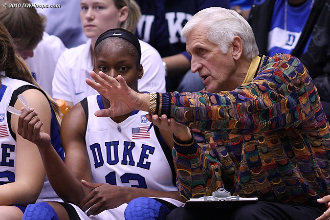 Al Brown has some advice for Karima on the bench.