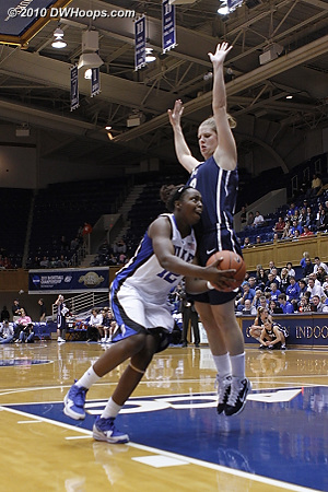 Chelsea Gray draws a foul from BYU's Stephanie Vermunt.  - Duke Tags: #12 Chelsea Gray