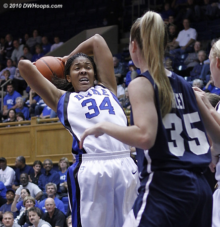 Krystal Thomas in the low post.  - Duke Tags: #34 Krystal Thomas