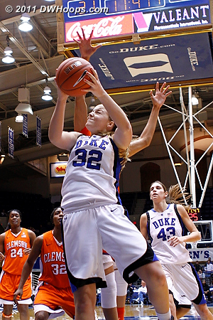 Tricia Liston goes strong to the hoop, a score plus the foul from Chancie Dunn.  - Duke Tags: #32 Tricia Liston
