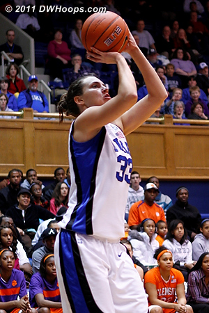 Haley Peters gets into the scoring act with a baseline jumper, Duke leads 25-7.  - Duke Tags: #33 Haley Peters