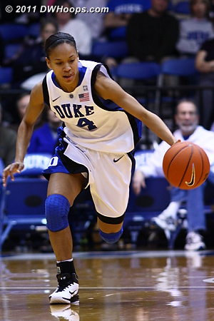Off one of Duke's 12 first half steals Chloe Wells starts the Blue Devil fast break.  - Duke Tags: #4 Chloe Wells