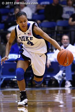 Off one of Duke's 12 first half steals Chloe Wells starts the Blue Devil fast break.  - Duke Tags: #4 Chloe Wells