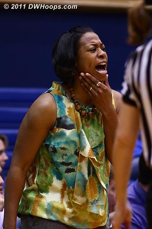 Clemson Head Coach Itoro Coleman encourages her team during Duke's gargantuan 24-0 run.