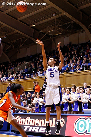 Jasmine Thomas hits from the corner - Duke had eight first half threes, shattering their season high.