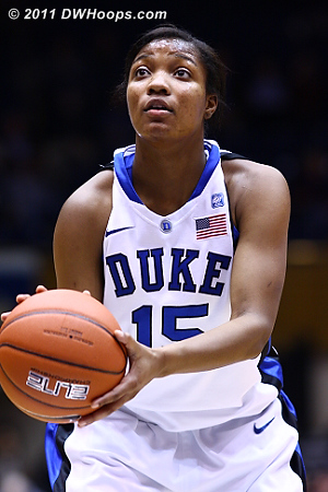 Richa Jackson at the line converting a three point play  - Duke Tags: #15 Richa Jackson