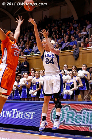 Kathleen Scheer was the last of the eleven Blue Devils to score in the first half, nailing a trey over Sthefany Thomas from the opposite corner with two seconds left.  - Duke Tags: #24 Kathleen Scheer