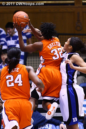 After only Wright and Mason scored for Clemson in the first half Kelia Shelton was able to get into the points column early in the second.