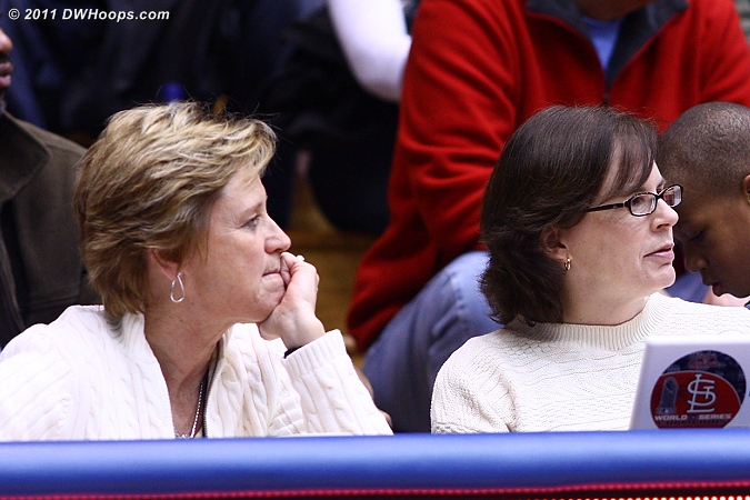 ACC Associate Commissioner Nora Lynn Finch (left) and ESPN's Mechelle Voepel on press row.