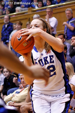 Tricia Liston zeros in on her second three point basket of the night.  - Duke Tags: #32 Tricia Liston