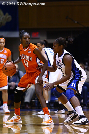 Karima Christmas fouls Clemson's Kirstyn Wright.  Yes, this is a foul.