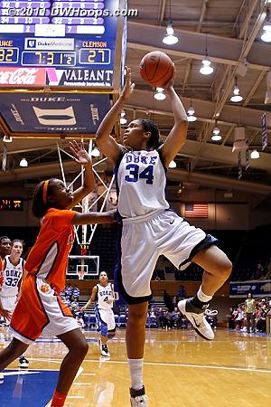 Krystal Thomas tries a tough baseline jumper.  - Duke Tags: #34 Krystal Thomas