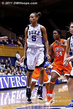 Jasmine Thomas after whipping a pass to Richa Jackson.  - Duke Tags: #5 Jasmine Thomas