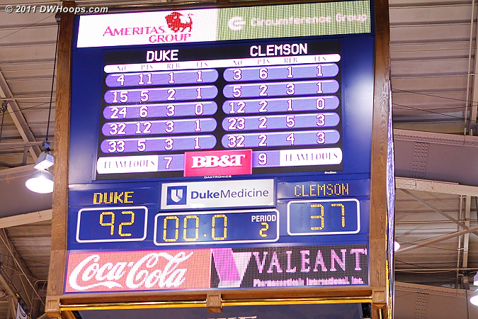 Ballgame!  Duke finishes with five players in double figures and an even 50% shooting percentage.  22 of Duke's 33 baskets were assisted and their 12 three pointers shattered their previous season high.