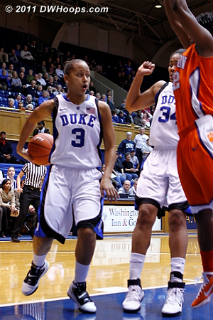 Shay Selby goes behind the back to a surprised Krystal Thomas, one of many deft passes she made tonight.  - Duke Tags: #3 Shay Selby
