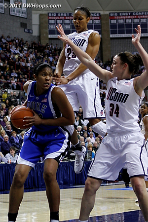 Maya Moore seemingly suspended in space over Krystal Thomas, as Kelly Faris tries to seal off the inside.  - Duke Tags: #34 Krystal Thomas