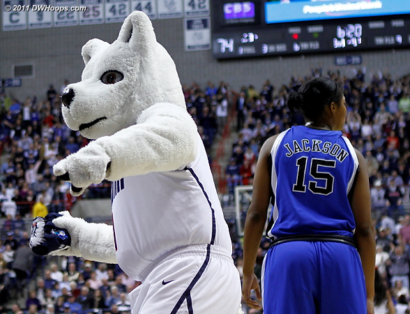 The Husky throws a t-shirt as Richa is ready to get on with the game.  - Duke Tags: #15 Richa Jackson