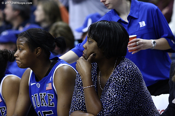 Richa on the bench with Coach Stafford-Odom  - Duke Tags: #15 Richa Jackson, Trisha Stafford-Odom