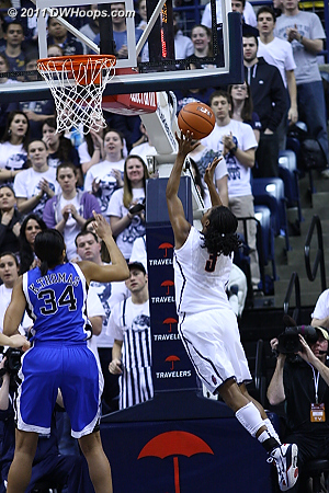 Tiffany Hayes drew first blood for UConn with this layup