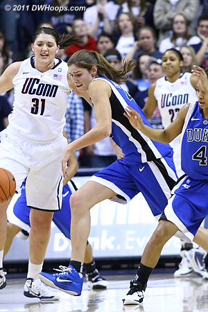 Allison Vernerey gets one of Duke's seven first half steals.  - Duke Tags: #43 Allison Vernerey