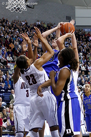 Allison Vernerey draws a foul from Maya Moore  - Duke Tags: #43 Allison Vernerey