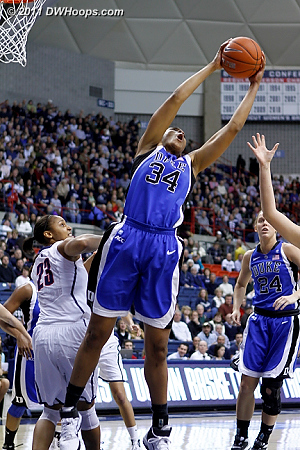 Krystal Thomas got Duke's first rebound after a Gray three point miss  - Duke Tags: #34 Krystal Thomas