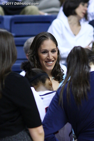 Rebecca Lobo was virtually a part of the happy UConn huddle at the under 8:00 media time out.  Huskies up 26-4.