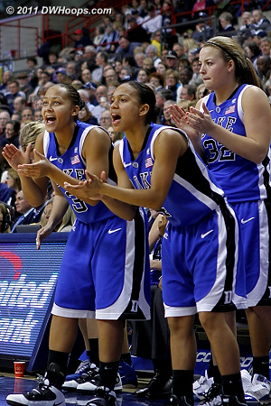 Duke's bench remained active, here cheering a K.Thomas trip to the line.  - Duke Tags: #32 Tricia Liston, #4 Chloe Wells, #3 Shay Selby