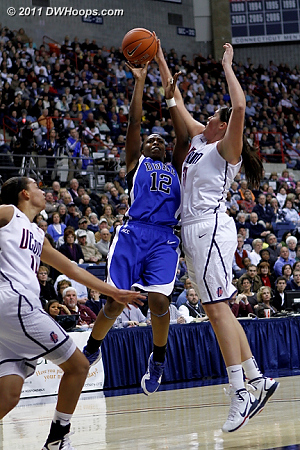 Stefanie Dolson stuffs Chelsea Gray's shot.  - Duke Tags: #12 Chelsea Gray