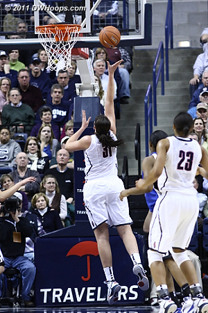 After UConn ran some clock Dolson found an easy lane, Huskies back up by 24