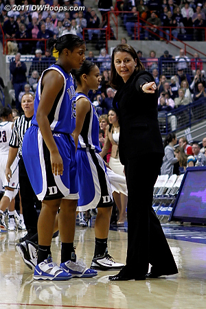 Some individual coaching for Richa Jackson after she charged on a baseline drive.  - Duke Tags: #15 Richa Jackson, Joanne P. McCallie