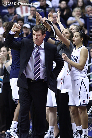 Geno Auriemma pumps his fist after back to back assisted UConn treys