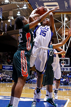 Richa Jackson, who made her first Blue Devil career start tonight, draws Morgan Stroman's first foul.