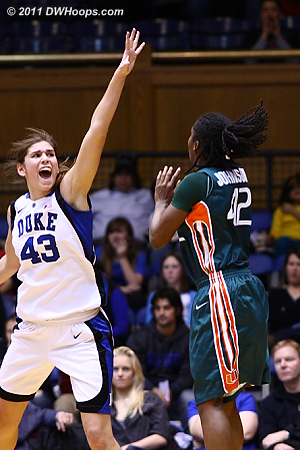 Johnson misses over Vernerey when the Canes really needed a bucket.  - Duke Tags: #43 Allison Vernerey