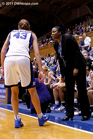 Some coaching for Alli from assistant Trisha Stafford-Odom  - Duke Tags: Trisha Stafford-Odom 