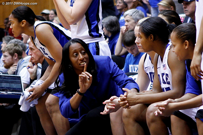 Samantha Williams makes a point on the Duke bench  - Duke Tags: Samantha Williams