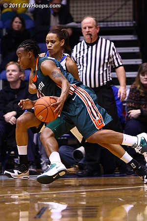 Riquna Williams drives past Jasmine Thomas  - Duke Tags: #5 Jasmine Thomas 