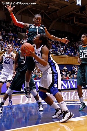 Karima Christmas draws a foul from Riquna Williams.  - Duke Tags: #13 Karima Christmas 